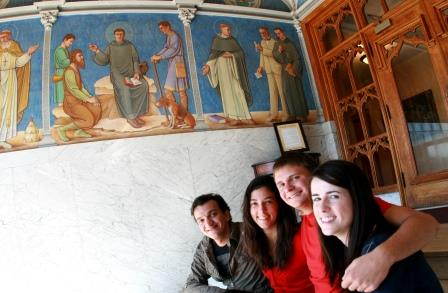 6. The Great Catholic Intellectuals mural at Benedictine College flanks the entryway of St. Benedict Hall. It was painted in 1939 by Brother Bernard Wagner, a monk of the Abbey on campus.