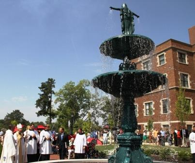 Abbot James Albers consecrated Benedictine College to the Blessed Mother Sept. 8 after dedicating the new 21-foot fountain statue of Our Lady of Grace.